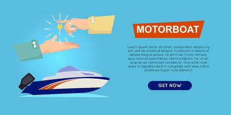motor launch: Buying Motorboat Online. Boat Selling. Web Banner. Illustration