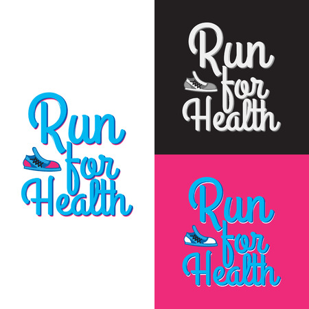 Run for Health. Collection of Three Logotypes Illustration