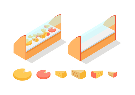 Cheese in Groceries Showcase Isometric Vector Illustration