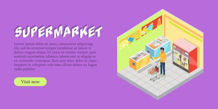 Supermarket Department Isometric Web Banner Illustration