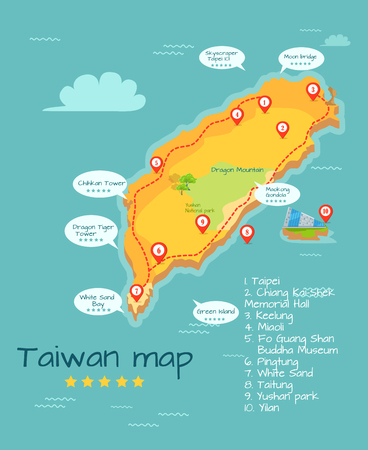 Cartoon Taiwan Kaart Met Beroemde Plaatsen Illustratie