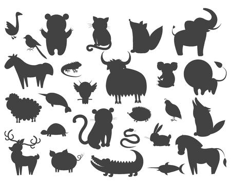 Set van Cartoon Animal Pet en Wild Beasts Vector Stock Illustratie