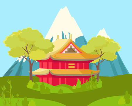 Chinese House in Mountains. Landscape Illustration Illustration