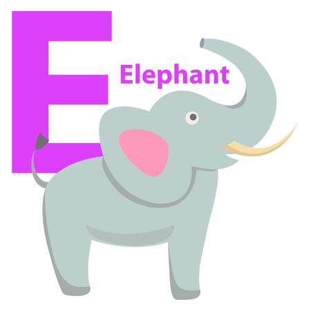 Children s Alphabet Icon Cartoon Elephant Letter E