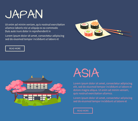 building site: Set of Asia and Japan Flat Vector Web Banners Illustration