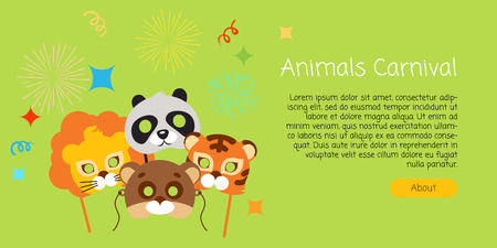 Máscaras infantiles divertidas para animales Foto de archivo - 76038717