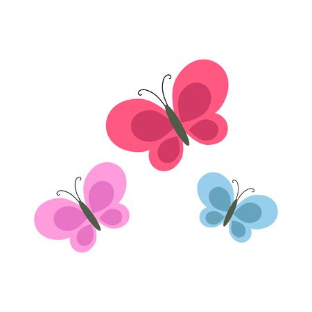 Bright Cartoon Butterflies Isolated Illustration