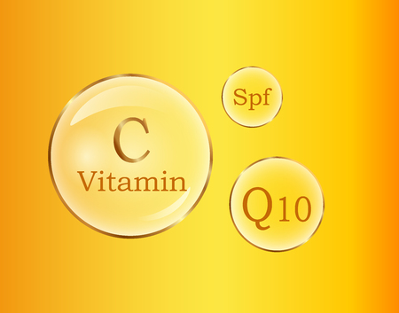 C and Q10 Vitamins, Spf Round Signs Vector Poster Illustration