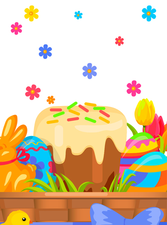 Easter Festive Flat Vector Concept with Sweets