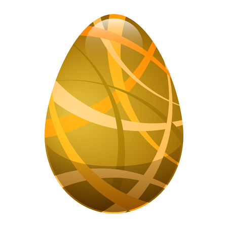 golden egg: Easter Egg with Ornamental Lines in Golden Colors Illustration