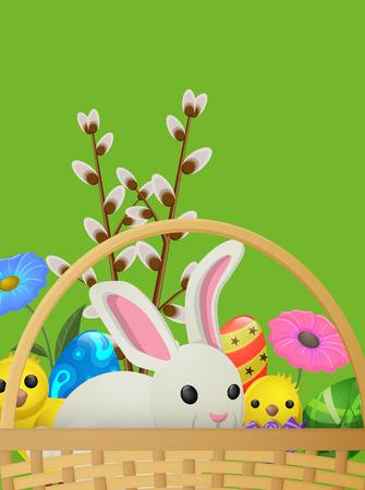 흰 토끼, 노란 닭, 버드 나무 가지의 세트