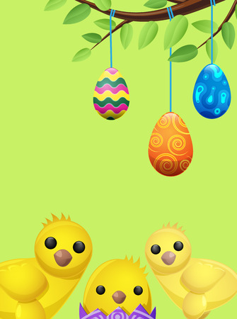 Set of Easter Chicken and Suspended Color Eggs