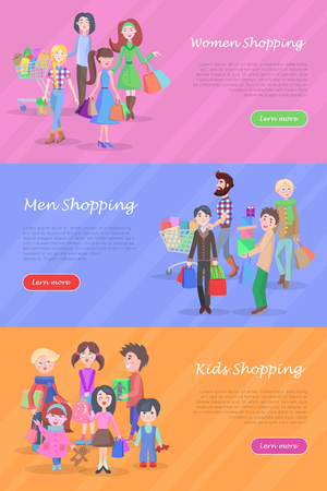 People Shopping Web Banners Set in Flat Design
