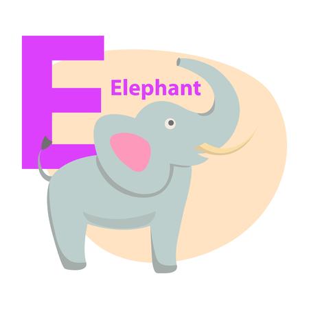 Alphabet Icon Cartoon Elephant Letter E