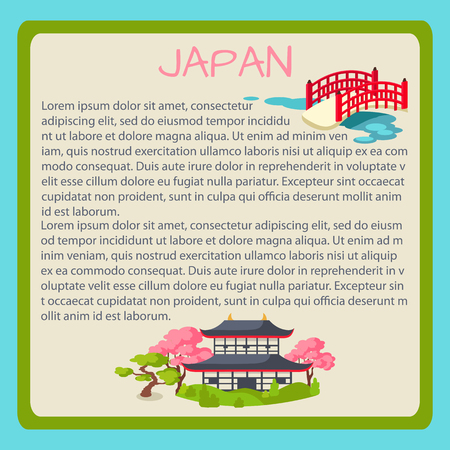 cult: Japan Framed Vector Touristic Banner with Text