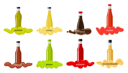 Set of Glass Bottles with Hot Sauces Flat Vector Illustration