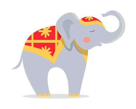 Cure Elephant in Ornamented Cape Flat Vector Icon