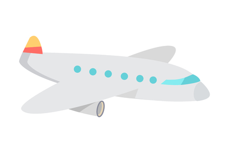 Cartoon Airplane Flat Vector Illustration