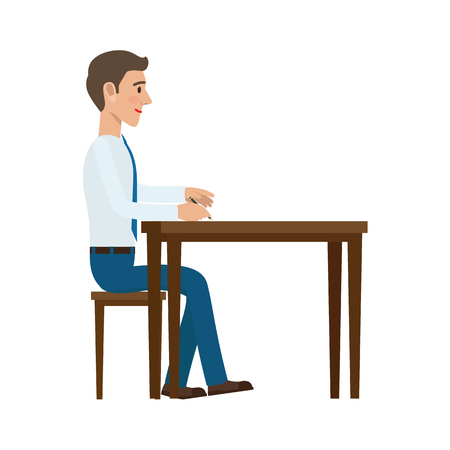 Businessman Writing with Pen at the Table Vector Illustration
