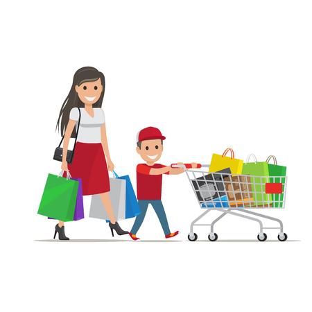 Familia hacia fuera en la ilustración de las compras. Madre e hijo