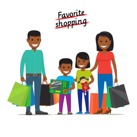 mujer en el supermercado: Favorite Shopping. Family Makes Purchases at Mall Vectores