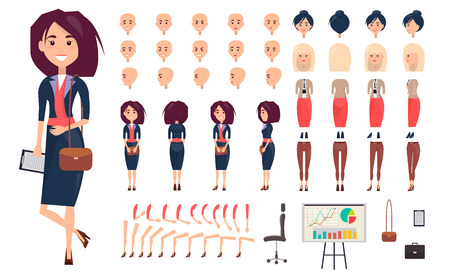 Businesswoman Constructor Isolated Illustration