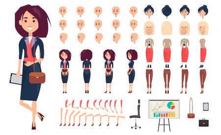 Geschäftsfrau Konstruktor Isolierte Illustration Standard-Bild - 75949789