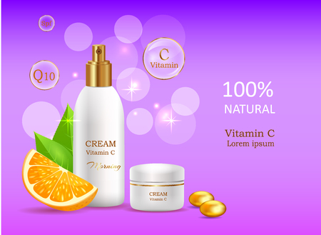 woman hygiene protection: Natural Cream with Vitamin C in Glossy Tube Vector Illustration