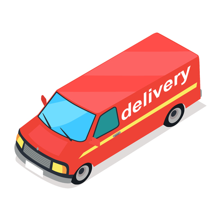 Red Truck of Delivery Cartoon Style Flat Design Illustration