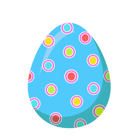 Easter Red Egg with Colorful Dot Vector Decoration