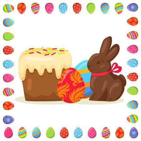 Tasty Easter Treats Illustration in Eggs Frame