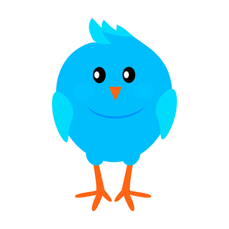 Little Funny Blue Bird Flat Vector Icon