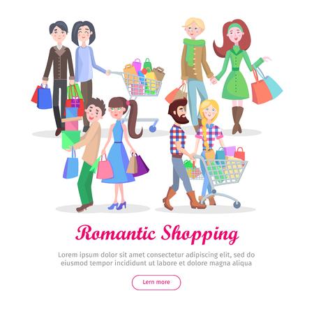 Romantic Shopping Cartoon Flat Vector Concept