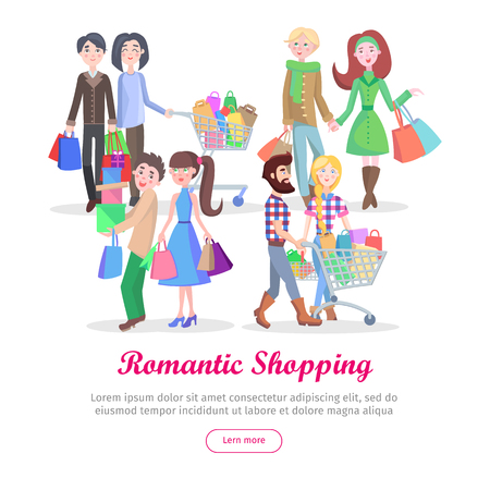 Romantic Shopping Cartoon Flat Vector Concept