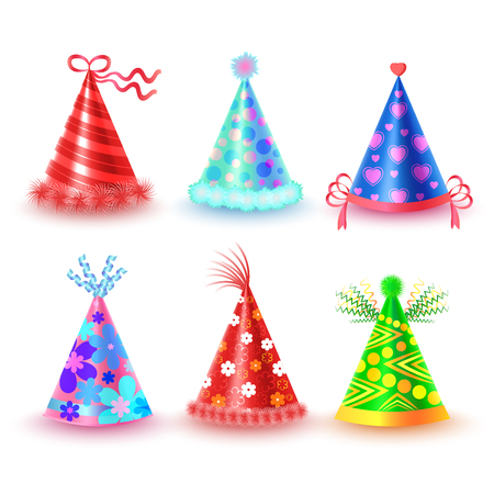 Decorated Colorful Party Hats Vector Icons Set Illustration