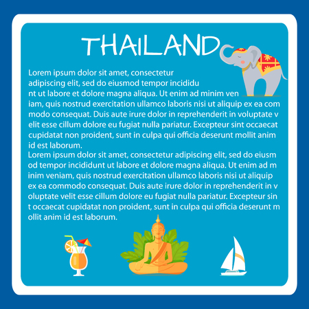 Thailand Framed Vector Touristic Banner with Text