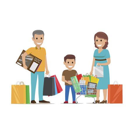 슈퍼마켓 플랫 벡터로 가족 구매하기