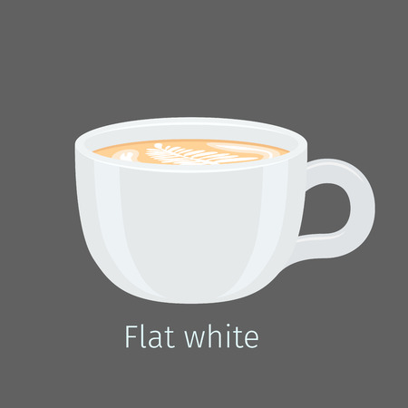 Flat White Coffee with Latte Art on Foam Vector Illustration