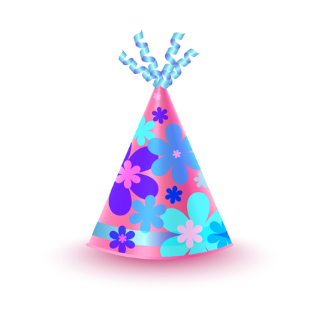 Flowery Decorated Pink Party Hat Vector Icon Illustration