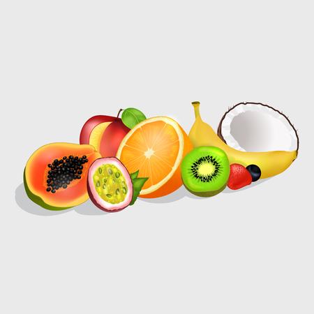 Sliced Exotic Fruits Vector Illustrations Set Ilustrace