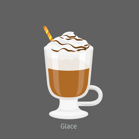 コーヒーの砂糖漬けフラット ベクトルとアイルランド ガラス マグカップ