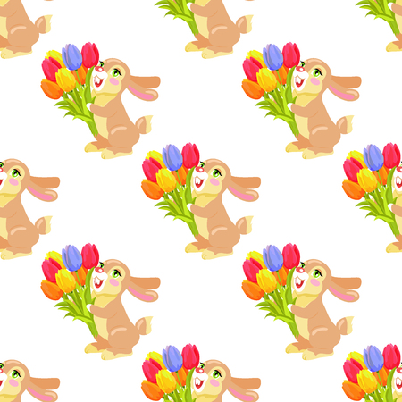 Seamless Pattern with Chocolate Bunny and Bouquet Illustration