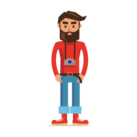 Male Character Photographer Isolated Illustration
