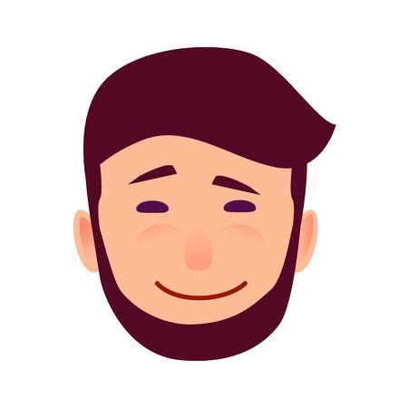 皮肉な笑みを浮かべて漫画男の顔イラスト