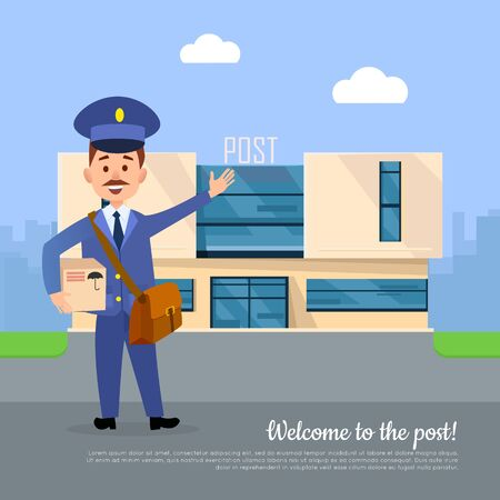 post office building: Welcome to Post Banner. Postman Pointing on Office Stock Photo
