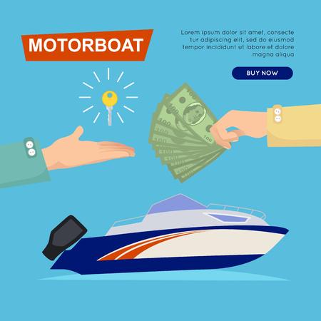 Buying Motorboat Online. Boat Selling. Web Banner. Иллюстрация
