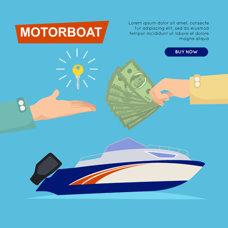 Buying Motorboat Online. Boat Selling. Web Banner. Illustration