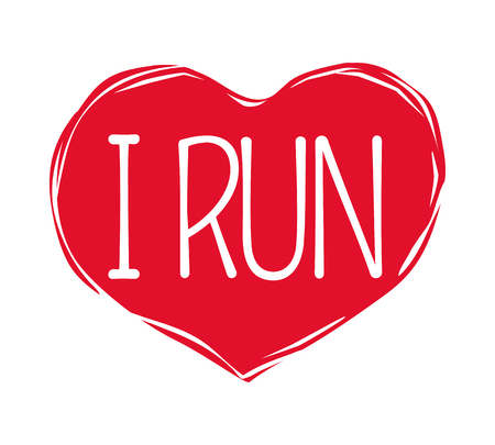 I Love Run Text in Red Hand Drawn Heart. Logo Sign