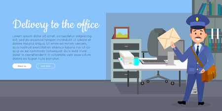 Delivery to the Office Cartoon Vector Web Banner