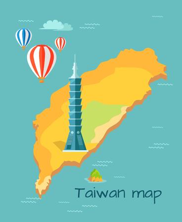 Cartoon Taiwan Map with Taipei Tower Illustration Illustration